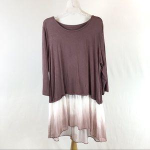 LOGO Lori Goldstein tunic with ombre trim size XL